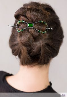 French Braid your hair then flip it up into a twist and secure with a flexi clip. Flexi clip available at http://www.lillarose.biz/hairofglory