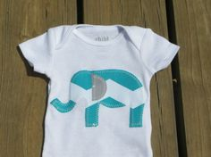 elephant chevron teal baby outfit for little boy or girl with tail on rear, bodysuit, childrens clothing perfect for a shower gift