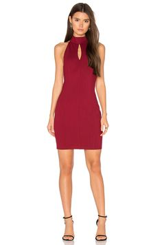 Bobi BLACK Cut Out Bodycon Dress in Dark Red