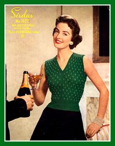 PDF Knitting Pattern  1950'S Ladies Beaded Evening Jumper