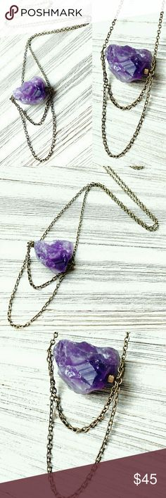 """""""Ambulant Aura""""Raw Amethyst Necklace Choose this mystifying, raw amethyst necklace to be your ensemble centerpiece, and your look will suddently emanate vibes of the most captivating kind. - Drawn in by the genuine amethyst stone, centered between delicate antique gold chain hangings - This unique accessory, encourages and showcases even your deepest inner gypsy!  ;) Handcrafted with Love! Jewelry Necklaces"""