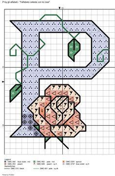 alfabeto celeste con le rose: P
