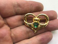 Vintage Signed NR IRISH Claddagh in Heart Green BROOCH PIN Silver Tone    eBay