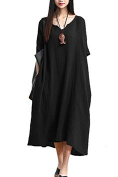 Mordenmiss Womens New Plus Size Dress Robe with Pockets Black * Want to know more, click on the image.