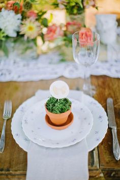 rustic wedding - name card in potted moss for each guest