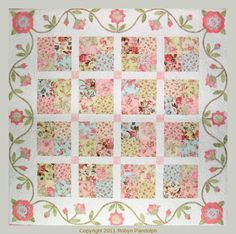 Flirtatious Quilt Pattern by Brenda Hayes for Robyn Pandolph Design Studio. A fun quilt that can be made with 4 Charm Packs and a little additional fabric for the border and setting. Colchas Quilt, Quilt Border, Scrappy Quilts, Easy Quilts, Applique Quilts, Quilt Blocks, Shabby Chic Quilt Patterns, Shabby Chic Quilts, Patchwork Patterns