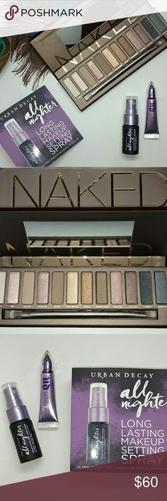 Urban Decay Naked palette & more Urban Decay Naked eye shadow palette, all nighter long lasting Setting spray and primer potion both deluxe travel size. All items are 100% Authentic as all my items. Brand new never used. Urban Decay Makeup Eyeshadow