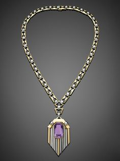 Two Tone Gold Amethyst Deco Pendant Necklace, circa 1930s