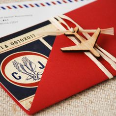 Vintage Air Mail Boarding Pass Invitation (Love is in the Air) - Design Fee on Etsy, $45.00