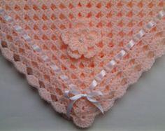 Crochet bebé manta, ropa de cama infantil BAUTIZO Bautismo regalo bebé ducha foto prop