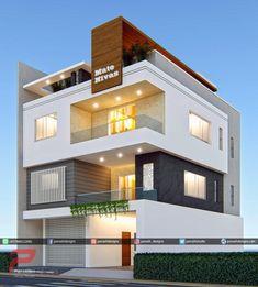 Three Storey Elevation Home Design Inspiration House Design 3d, 3 Storey House Design, Bungalow Haus Design, Modern Exterior House Designs, Modern Small House Design, Simple House Design, House Front Design, Minimalist House Design, Residential Building Design