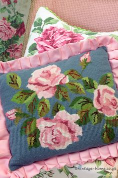 Vintage Home Shop - Pretty Pink Roses and Ruffle Needlepoint Cushion: www.vintage-home.co.uk