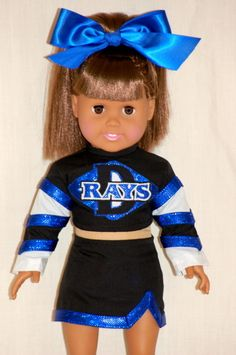Wish I knew more people who did custom cheer sets so I could refer my customers … - American Girl Dolls American Girl Outfits, Custom American Girl Dolls, American Girl Diy, Cheer Outfits, Cheerleading Outfits, My Life Doll Clothes, Ag Doll Crafts, Doll Costume, Girl Costumes
