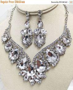 Bridal jewelry set bridal necklace statement by GlamDuchess
