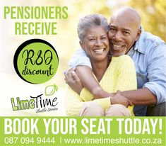 This one is for the Golden Oldies If you haven't heard about our senior discount, you're definitely in for a treat! All South African seniors receive R80 discount when they make a booking with Limetime Shuttle. Book your seat online or contact us on 087 094 9444. #limetimeshuttle #pensionersdiscount #shuttleservice