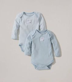 Organic cotton Bee Essentials Set of 2 Long Sleeve Bodysuits: Color - Sky