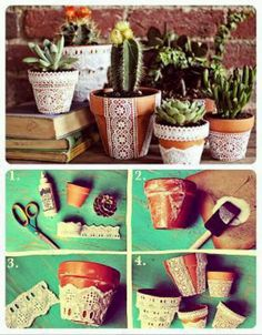 DIY Craft Tutorial: Pretty Lace Flower Pots, Exposito Exposito Woodbury Pehrson Larson of A Beautiful Mess Clay Pot Crafts, Fun Crafts, Diy And Crafts, Craft Tutorials, Craft Projects, Diy Y Manualidades, Fleurs Diy, Deco Nature, Deco Floral