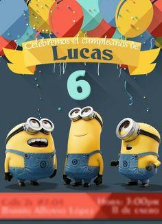 #Cumpleaños #6años #minions #tarjeta