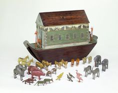 A Noah's Ark, from the 1830s. The ark and the animals are made from wood.