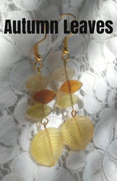 Pretty earth tone colored leaves make this beautiful pair of drop earrings.  Available for $6.00. Earth Tone Colors, Earth Tones, Colored Leaves, Leaf Earrings, Autumn Leaves, Etsy Seller, Pendant, Creative, Pretty