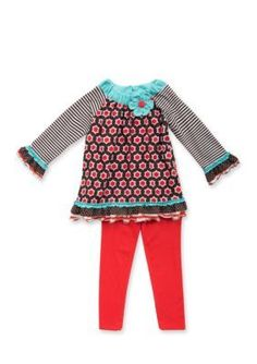 Rare Editions  Two-Piece Geo Tunic and Legging Set Toddler Girls