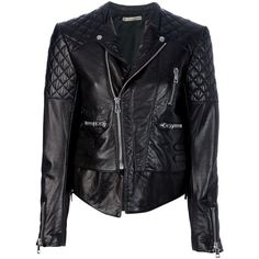 BALENCIAGA biker jacket (6.655 BRL) ❤ liked on Polyvore featuring outerwear, jackets, leather jackets, coats, coats & jackets, leather moto jackets, rider jacket, quilted moto jacket, motorcycle jacket and genuine leather biker jacket