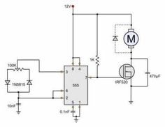 Very simple 12V motor speed controller with E555 timer