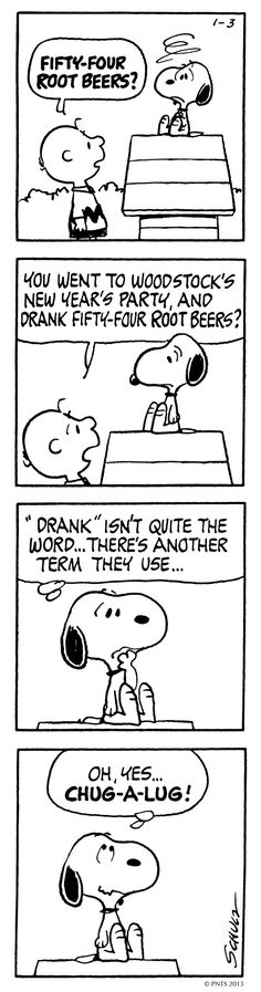 """Snoopy """"chug-a-lugging"""" root beer at Woodstock's party... hahaha XD"""