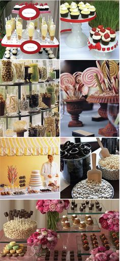 Cake alternatives. Candy bars, colored desserts in all colors.  http://www.stylemepretty.com/2008/06/23/wedding-cake-alternatives/  Review your theme and colors and mix it up! Don't forget those chocolate flowing foundtains, make mine caramel if you please! www.destinationweddings.travel