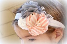 Gray Pink White Headband- Baby Girls Headband - Toddler Girls Flower Headband. $15.99, via Etsy.