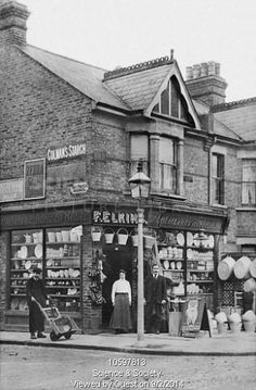 Mr F Elkins hardware shop, corner of Rectory Grove and Southsea Avenue, Leigh 1905