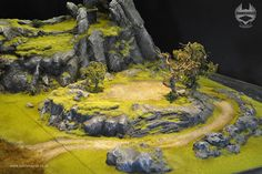 Central motif of raised grass plateaus with gray rock edges Grass Terrain Warhammer Terrain, 40k Terrain, Game Terrain, Wargaming Terrain, Rpg World, Landscape Model, Tabletop, Halloween Village, Fantasy Castle