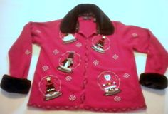 This UGLY CHRISTMAS SWEATER  with faux fur collar and cuffs (which are removable) by Karen Scott Petites sorta takes the cake...