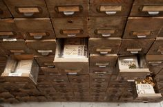 Studio Stalker: Inside Erica Weiners Crafty-Cool LES Work Space  Old card catalog storage