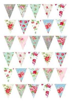 30 Vintage Shabby Chic Bunting #2 Cake/Cupcake Rice Paper Toppers | eBay