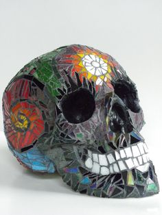 Life Size Mosaic Skull / This One is Sold by TempestMosaicStudios, $1000.00