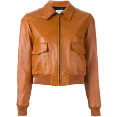 Saint Laurent cropped bomber jacket (€4.075) ❤ liked on Polyvore featuring outerwear, jackets, saint laurent, brown, long sleeve crop jacket, blouson jacket, brown cropped jacket, long sleeve jacket and leather jackets