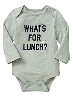 Mama needs an adult size onesie like this. What's to eat is all I think about!     Embroidered graphic bodysuit   Gap