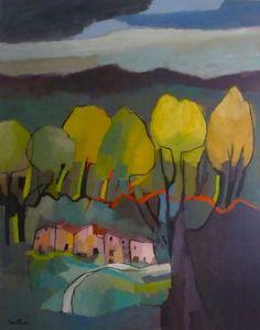 Sarah Picon, Paysage aux arbres jaunes, Peinture