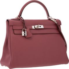 ba24d838e91 Hermes 32cm Bois de Rose Clemence Leather Retourne Kelly Bag with Palladium  Hardware Kelly Bag