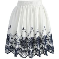 Chicwish Dream Catcher Lace Cutout Pleated Skirt ($42) ❤ liked on Polyvore featuring skirts, white, cut out skirt, white embroidered skirt, white lace skirt, elastic waist skirt and white knee length skirt
