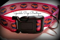 Pink Wonder Woman Inspired Dog Collar by SparklePupBoutique on Etsy