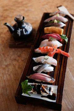 had truly authentic Sushi 寿司 in Japan. I would literally go broke from just over dosing on the amount of sushi I would eat there! Japanese Food Sushi, Japanese Dishes, Sushi Recipes, Asian Recipes, Sashimi Sushi, Salmon Sashimi, Sushi Love, Sushi Art, Food Plating