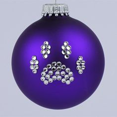 purple ornamnts | Purple Paw Print Ornament
