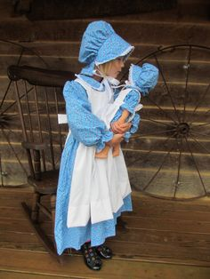 Christmas Gift Matching Doll and Child American Pioneer Girl Costumes -Blue Flowered Pioneer- Child Sizes