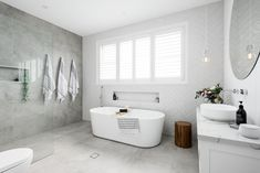 Walls: Opal White Subway by Amber Tiles Kellyville Floors: Bavaria Stone in Ice Upstairs Bathrooms, Laundry In Bathroom, Bathroom Renos, Bathroom Layout, Bathroom Interior Design, Bathroom Renovations, Small Bathroom, Family Bathroom, Shiplap Bathroom