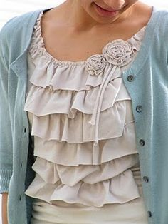 DIY ruffle shirt - I think this would be perfect with hidden nursing access in the ruffles