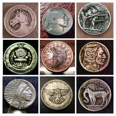 Hobo nickels. Antique altered coins... some of these designs are new, some of them old. American folk art.