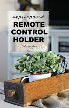 Repurposed Remote Control Holder from Vintage Sewing Drawer - Salvage Sister and Mister Vintage Diy, Vintage Home Decor, Vintage Sewing, Vintage Display, Remote Control Holder, Flea Market Style, Little Plants, Diy Furniture, Repurposed