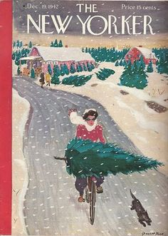 New Yorker cover of girl on bicycle with Christmas tree.